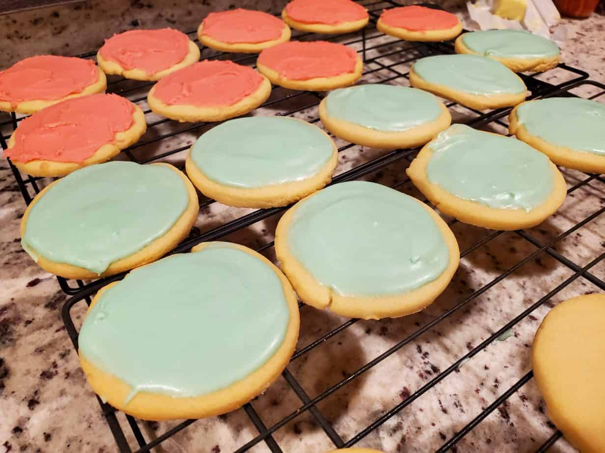 Multi colored icing on sugar cookies