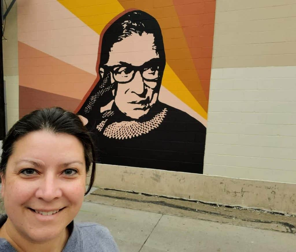 Ruth Bader Ginsburg Mural located in the alley across from The Chef in Manhattan, KS
