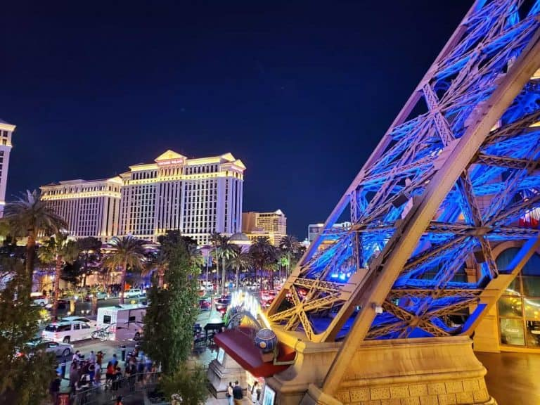 View of Caesers Palace and Paris casino on the strip in Las Vegas