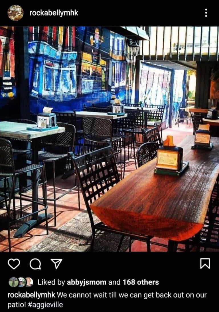 Outdoor seating at Rock A Belly Instagram